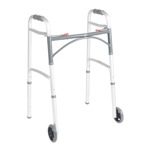 500-W101-5WF - WALKERS ADULT FOLDING 2 BUTTON DLX ADJ HT 32-39IN W/5IN FIXED WHEELS 350LB CAP (4/CS)