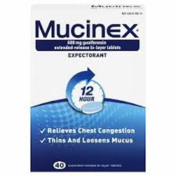PH163M - GUAIFENESIN EXPECTORANT 600MG TABLETS EXT RELEASE MUCINEX ER (40/BX)